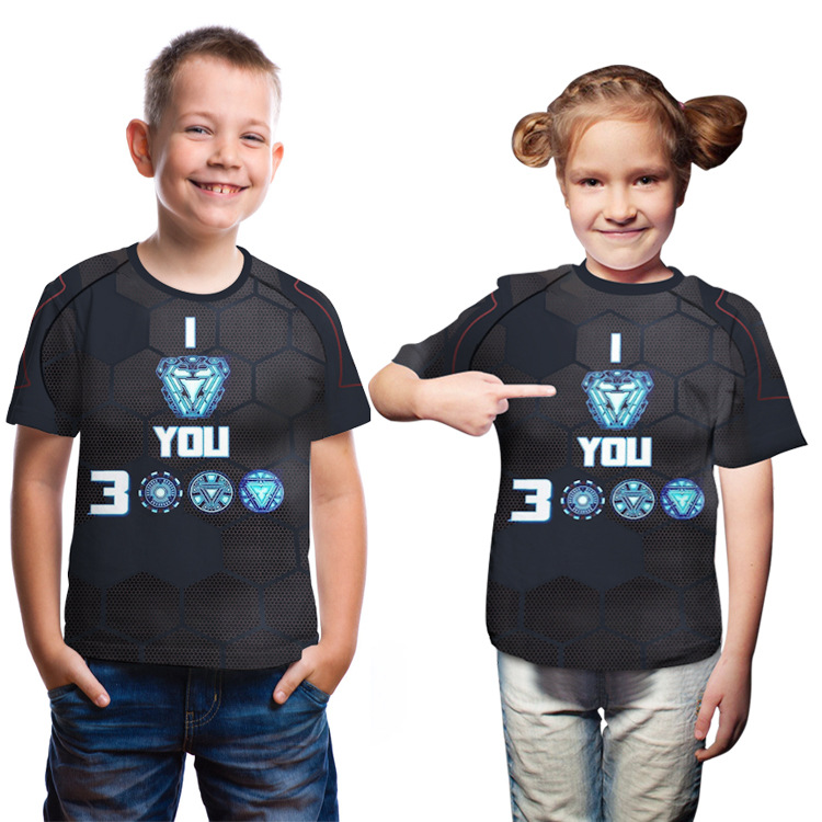 Boy's Girl's T-shirt Clothing Kid's Casual T-shirt Avengers 4 Iron Man Love You 3000 Unisex Short Sleeves Tees For Girls & Boys