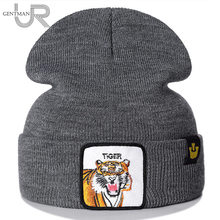 New Animal Beanie Hat Tiger Embroidered Brand Casual Beanie For Men Women Knitted Winter Hat Solid Hip-hop Hat Unisex Bonnet Cap hot sale 2014 new fashion winter men women solid color elastic hip hop cap beanie hat slouch 7 colors free size 35