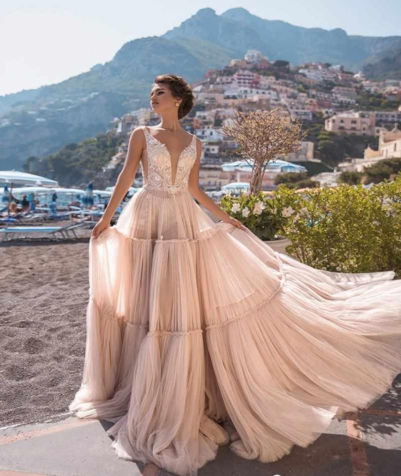 Smileven 2 Adet Plaj düğün elbisesi Aplikler Pembe Alt Vestidos de novia 2019 Gelin elbise uzun kollu Gelinlikler
