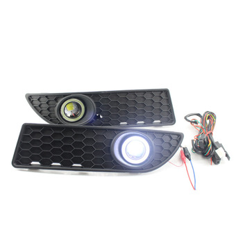 1 Pair Fog Lights Grille Wiring Harness Car Lamps Lights For VW Volkswagen Polo GTI 2005-2009 Accessories Fog angel Light Cover