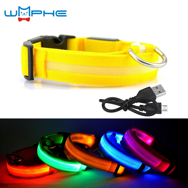 Usb Rechargeable Led Dog Collar Night Safety Flashing Glow Pet Dog Cat Collar With Usb Cable Charging Dogs Accessory
