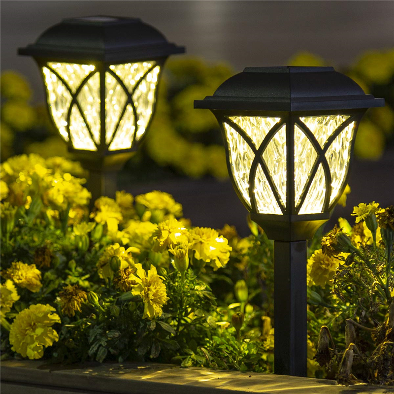 6 Pcs/lot Solar Powered Garden Lawn Lamp Easy Install Durable Yard Decoration Waterproof Black Landscape Light Outdoor LED Bulb