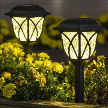 6 Pcs/lot Solar Powered Garden Lawn Lamp Easy Install Durable Yard Decoration Waterproof Black Landscape Light Outdoor LED Bulb