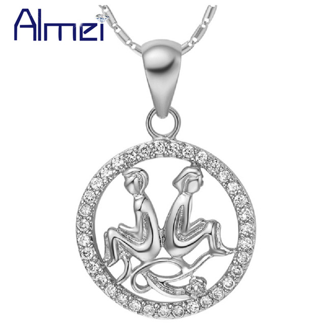 Almei 20% Fashion Crystal Twelve Constellations Pendants Silver Color Chains Women Girls Friend Gift Party High Quality N1048