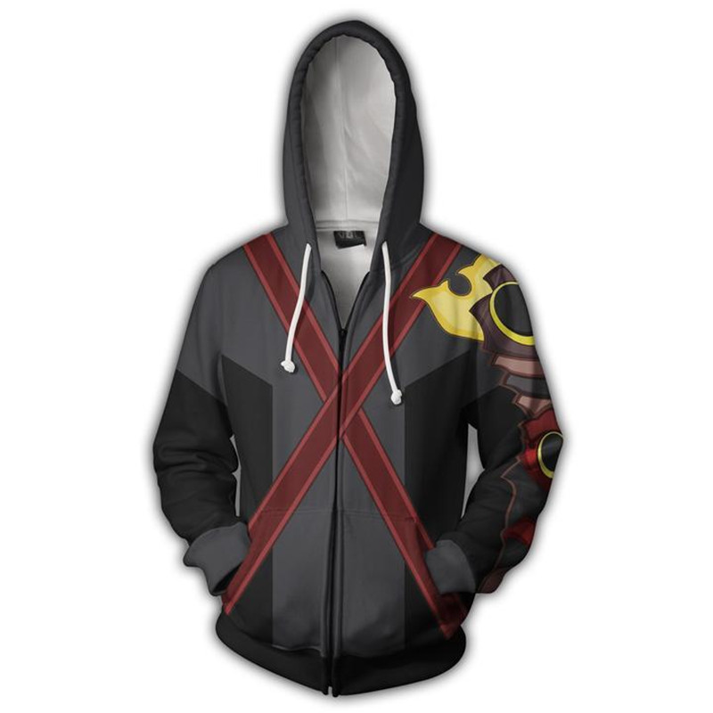 Kingdom Hearts Costume Axel Sweatshirts Sora Cosplay Autumn Men European and American 3D Printing zipper Jacket Hooded sweater