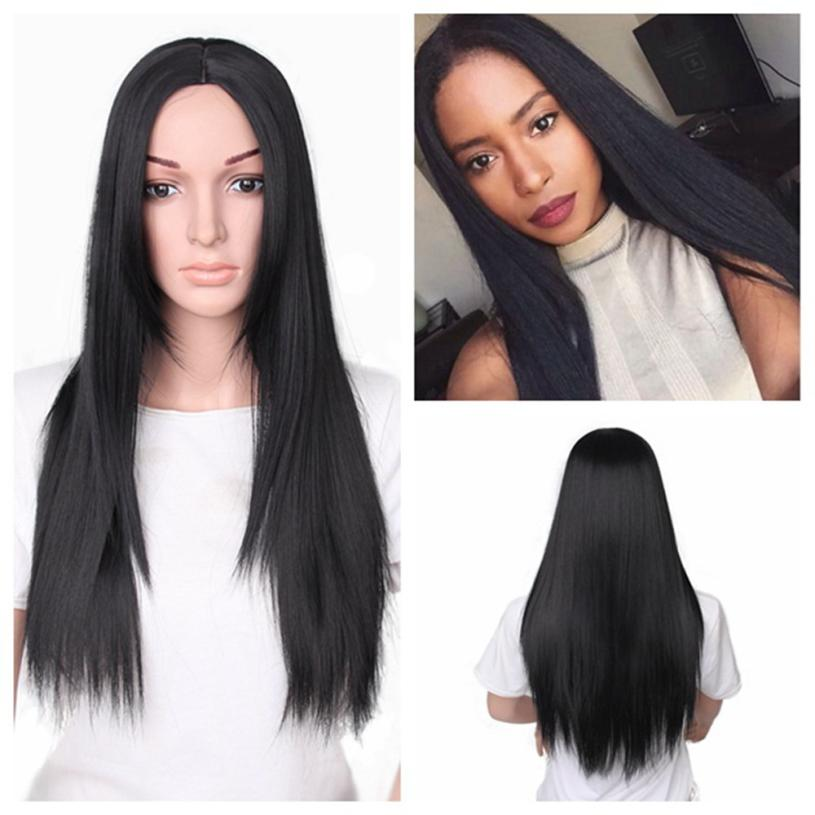 Women Fashion Lady Long Straight Neat Middle Part Hair Cosplay Party Wig AP10