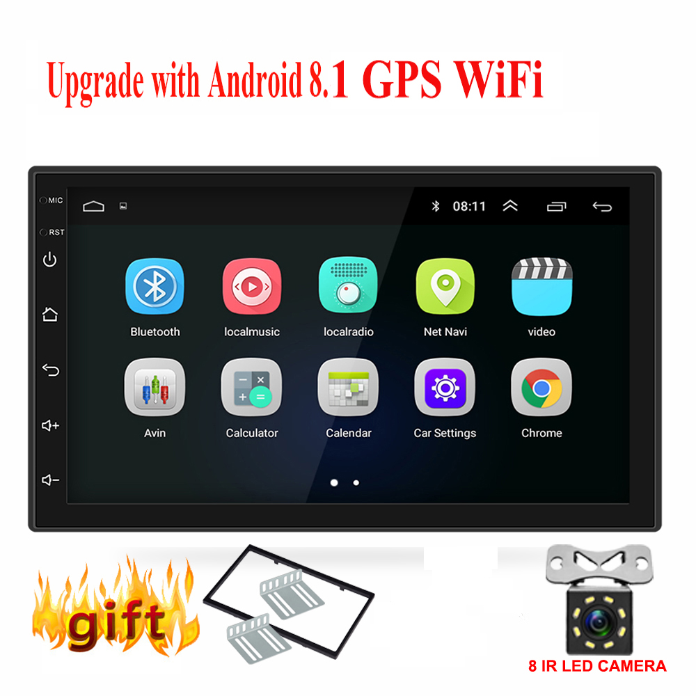 Android 8.0 universal Car Radio 7 2 din car radio gps android 2din Car DVD Player GPS NAVIGATION WIFI Bluetooth MP5 Player image