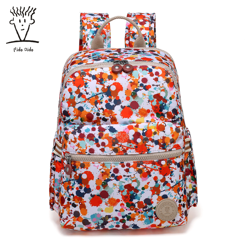 Fido Dido Shoulder Bag Fashion Wild Travel Bag Simple Waterproof Oxford Cloth Backpack Personalized Ink fido