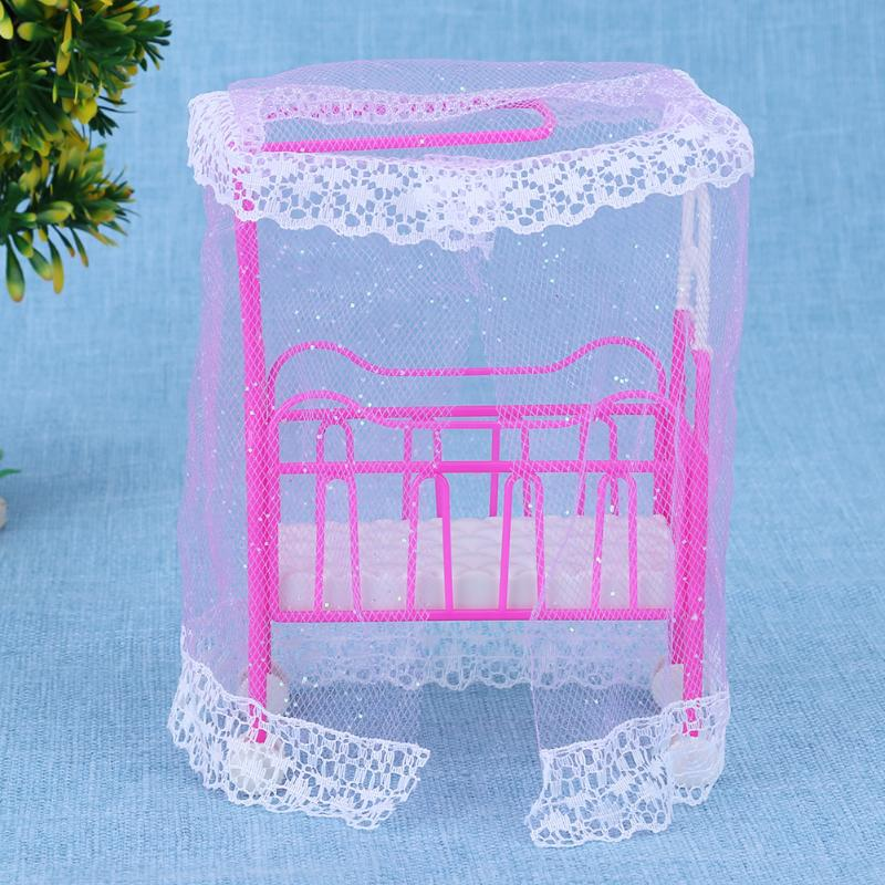 все цены на Pink Doll House For Barbie Dolls Small Bed Dolls Accessories Girls Toys House Furniture for Barbie Dolls Baby Toys Bed