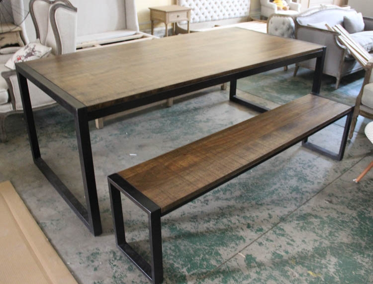 Solid wood furniture retro iron table desk bench Nordic American ...