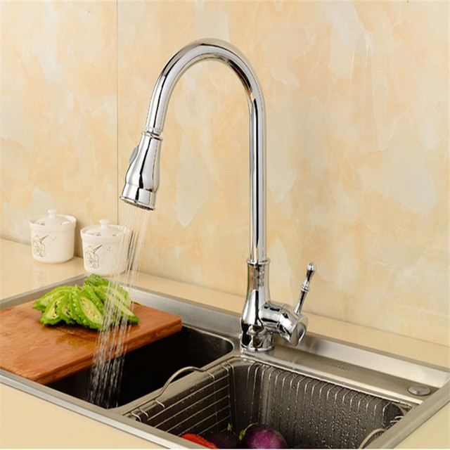 Solid Brass kitchen Faucet ,Hot & Cold Water Kitchen Tap, Single ...