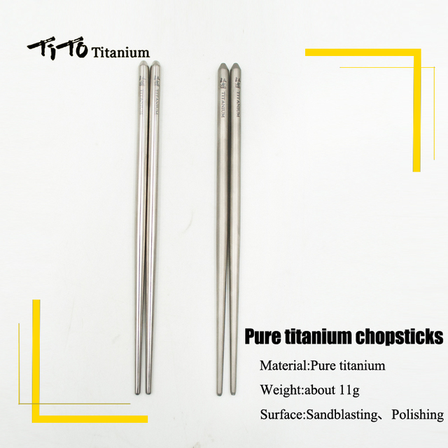TiTo pure titanium chopsticks outdoor tableware for camping picnic hiking traveling chopsticks dinner table chopstick