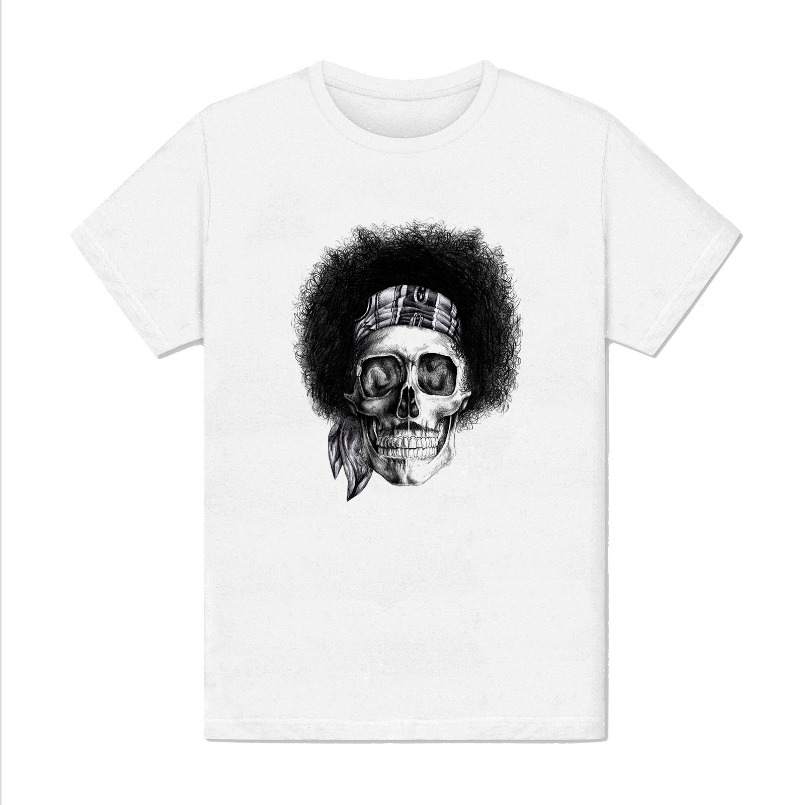T-shirt Homme - jimmy Hendrix tete de mort illustration rock musique usa design