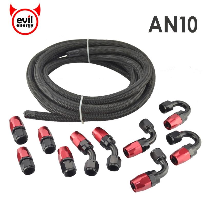 Energia male AN10 Raccordi Rosso E Nero Olio Combustibile Tubo End Adattatore Olio Kit + AN10 Nylon Intrecciato Tubo Flessibile Nero tubo Flessibile di olio Combustibile Linea 5 m
