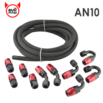 AN10 Oil Fuel Fittings Red And Black Hose End Oil Adaptor Kit+AN10 Nylon Braided Black Hose Oil Fuel Hose Line 5Meter fittings and braided hose