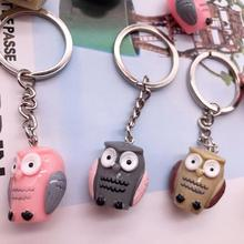 New Creative Cartoon Cute owl Key chain Lady car bag imitation resin ring fashion gift life decoration collection