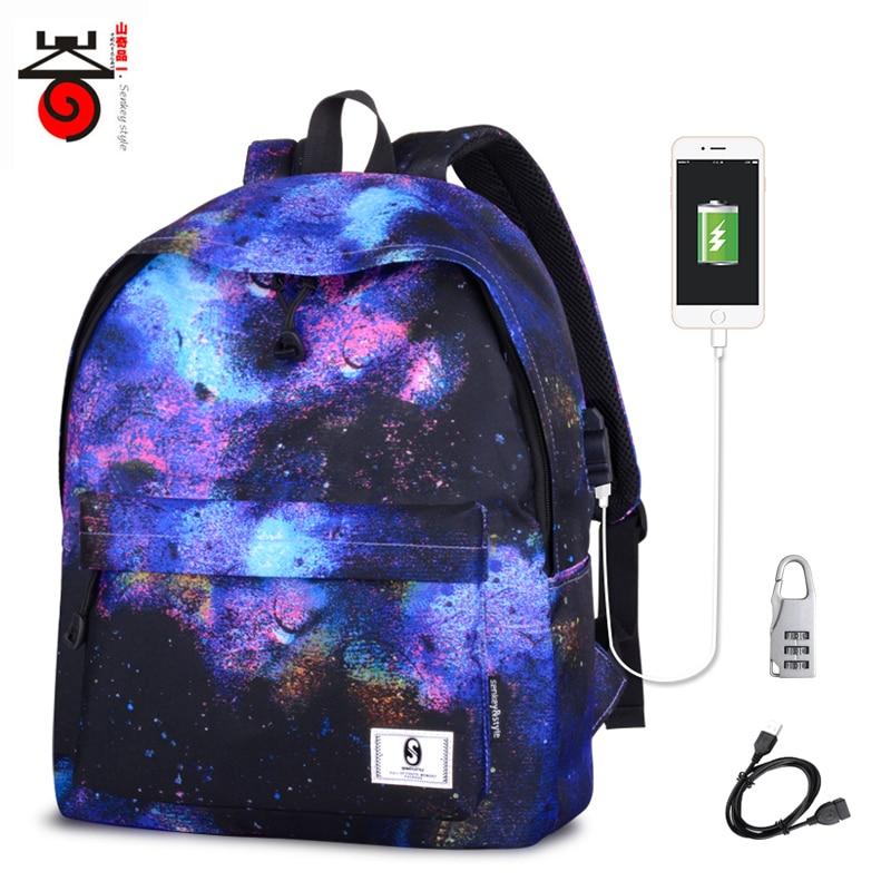 3b6d4d715e Schoolbag Bagpack Portfolio School Bag Teen Printing USB Backpack Space With  Charging Female Women For Kids Boys Girls Teenagers