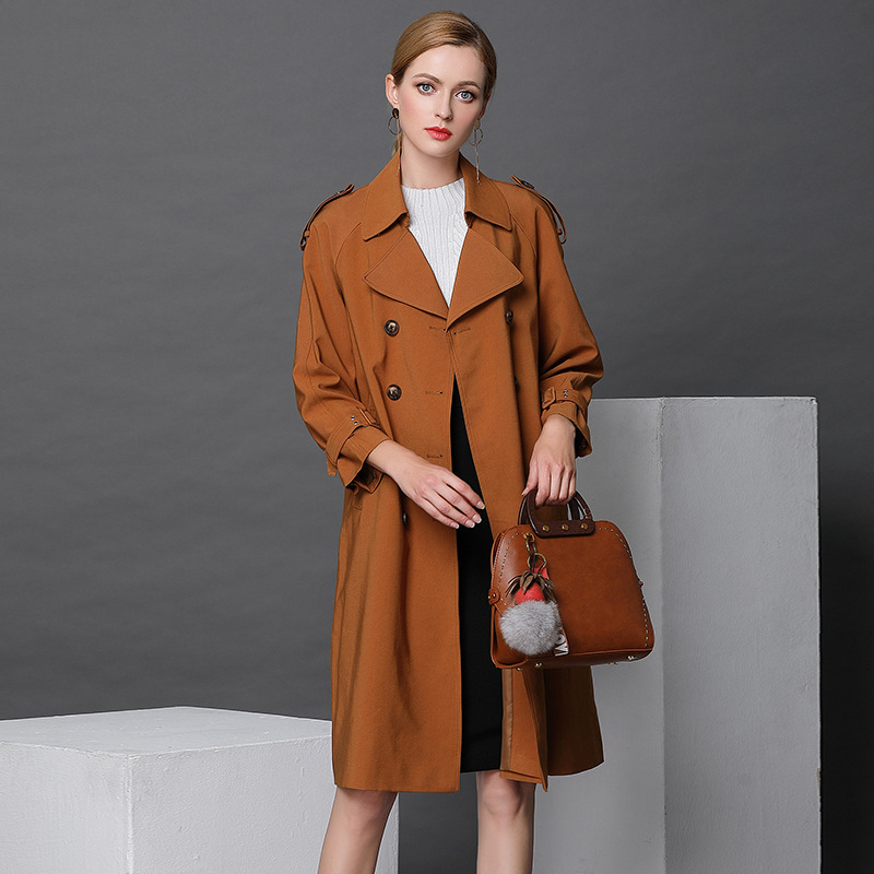 2018 Spring New Oversize   Trench   Coat For Women Double Breast Britsh Style Autumn Long Loose High-end Women's Windbreaker Coats