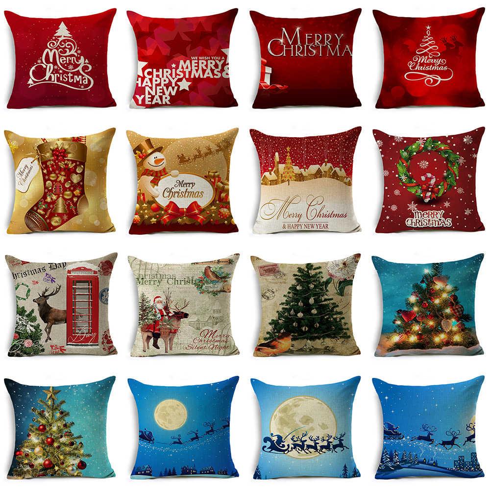 LMR Estilo Capa de Almofada de Natal Presentes de Natal Papai Noel Decoração de Casa Sofá Fronha Decorativo Merry Xmas Presente Saudações