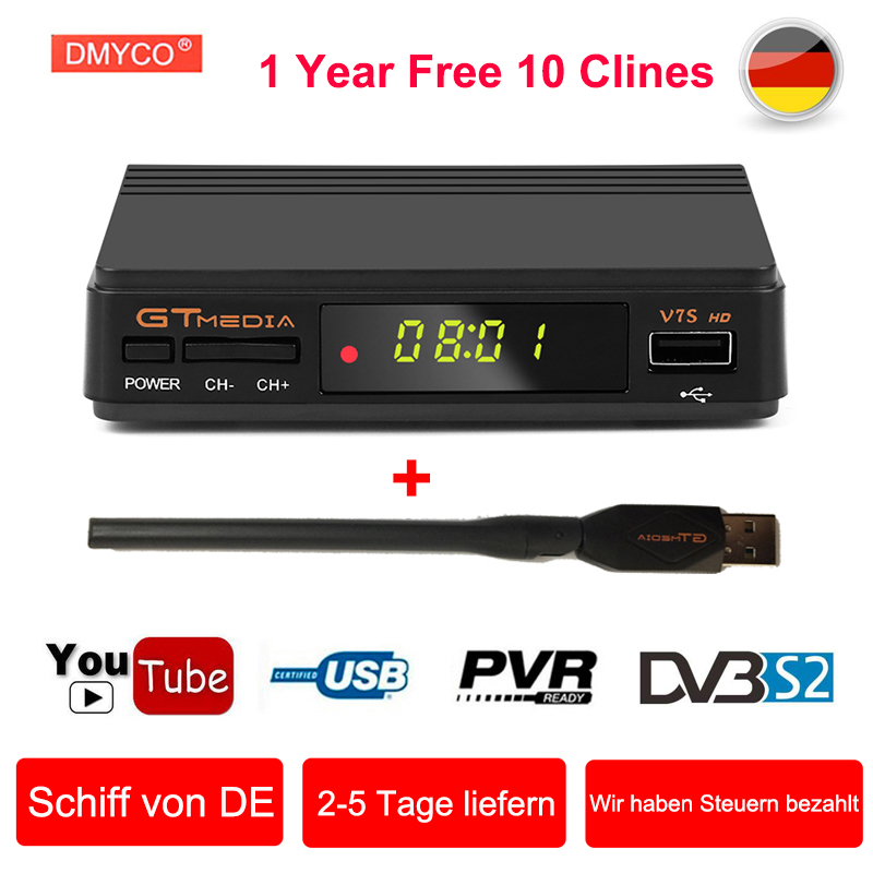 [Genuine] V7S HD Satellite Receiver 1080P DVB-S2 Support DVB S2 powervu Youtube Bisskey Germany Decoder HD TV Box +1 Year Clines vontar v9s dvb s2 hd satellite receiver support web tv cccamd newcamd iptv box with iphd xtream stalker iptv youtube youporn
