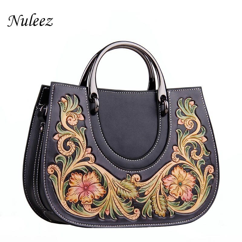 Nuleez Totes bag women genuine cow leather cross body Chinese beautiful hand carving flora Vintage luxury big bag 2019 SpringNuleez Totes bag women genuine cow leather cross body Chinese beautiful hand carving flora Vintage luxury big bag 2019 Spring
