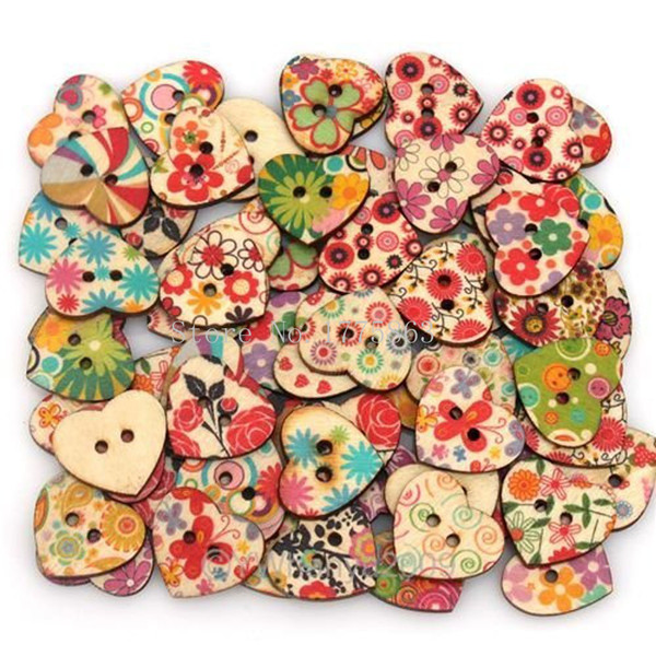 50Pcs Heart Shaped Painted 2 Hole Wooden Buttons , for Sewing, Scrapbooking, Crafts, Jewellery making, Knitting 7NK91