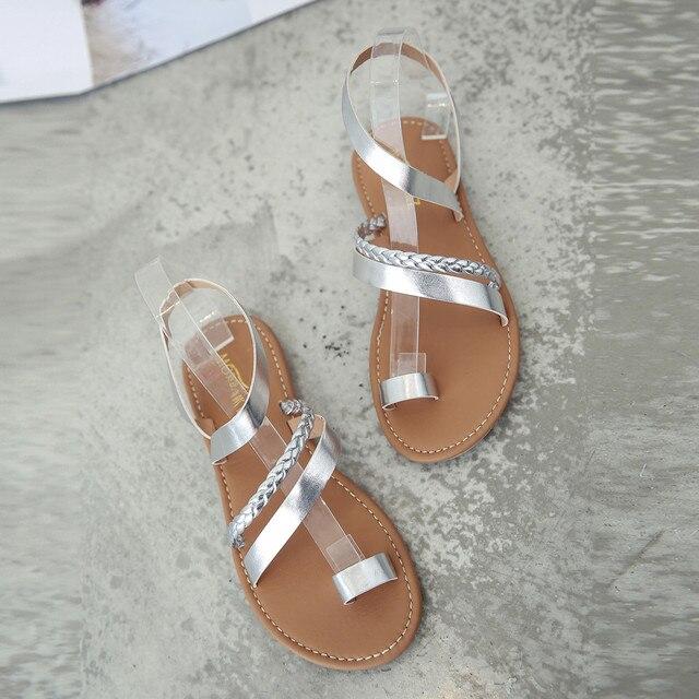 SAGACE Women Summer Strappy Gladiator Low Flat Heel Flip Flops Beach Sandals Shoes Women Flat Sandals Rhinestones 2018 new HOT