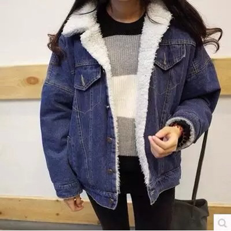 2016 new women jackets thick lamb wool denim jacket casual jeans short denim coat free shipping. Black Bedroom Furniture Sets. Home Design Ideas