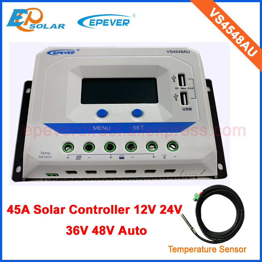 regulator charger 48V battery EPEVER PWM 45A VS4548AU USB port dual design LCD display Solar controller with temperature sensor regulator charger 48V battery EPEVER PWM 45A VS4548AU USB port dual design LCD display Solar controller with temperature sensor