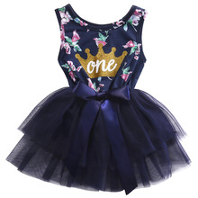 2017 Summer Cute Newborn Baby Girls Floral Lace Ruffle Party Tulle Dress Princess Kids Dress Sundress Clothes 0-24M