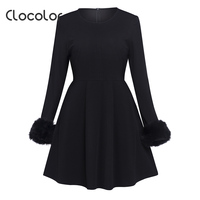 Clocolor Women Vintage Dresses Autumn Winter Fashion A Line Full Sleeve Black O Neck Elegant Pretty