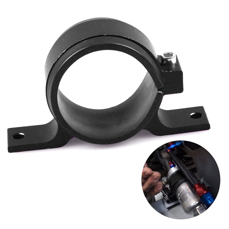 Alloy 60mm External Fuel Pump Filter Mounting Bracket Clamp Cradle Holder Black