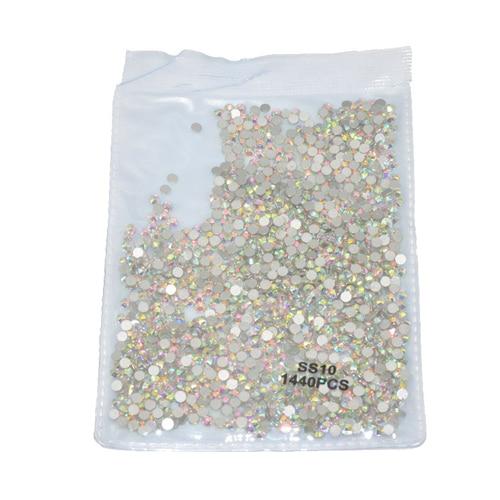 1440 шт Плоские с оборота кристаллы для ногтей Стразы для ногтей 3D дизайн ногтей украшения SS3-SS12 DIY стеклянные драгоценные камни AB прозрачный розовое золото - Цвет: SS10 1440pcs AB