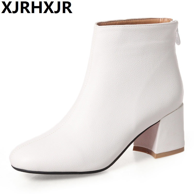 XJRHXJR Brand 2018 New Ankle Boots Sexy Pu Leather Women Shoes Square Toe Thick High Heel Short Boots Chunky Heel Dress Pumps стоимость
