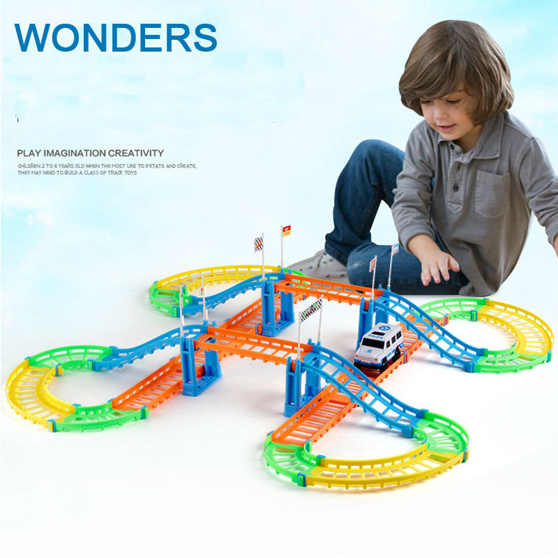 New design colorful Electric rail toy car Thomas car Children s toys Multi track car track