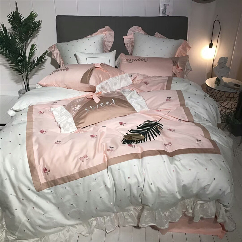 Oriental Embroidery 100%Cotton Pink White Cute Modern Bedding Set Queen King Size Princess Bed Sheet Set Duvet Cover Pillowcases