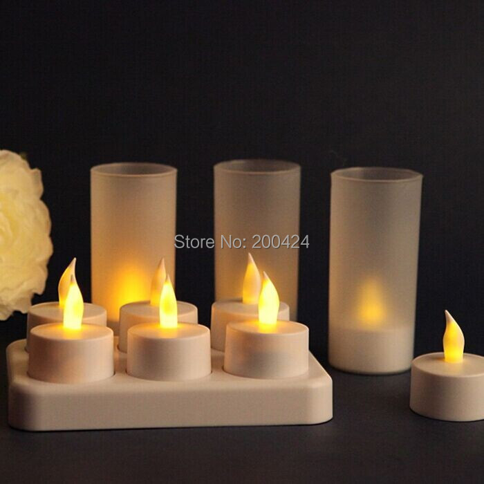ФОТО Rechargeable LED Candle light 6pcs/set with PP cup led tea light for Birthday Party Decoration With Charging