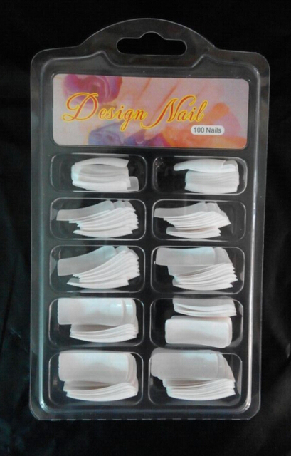 100pcs Blister Packaging White Nail Tips False Acrylic Nail Art Tips plish
