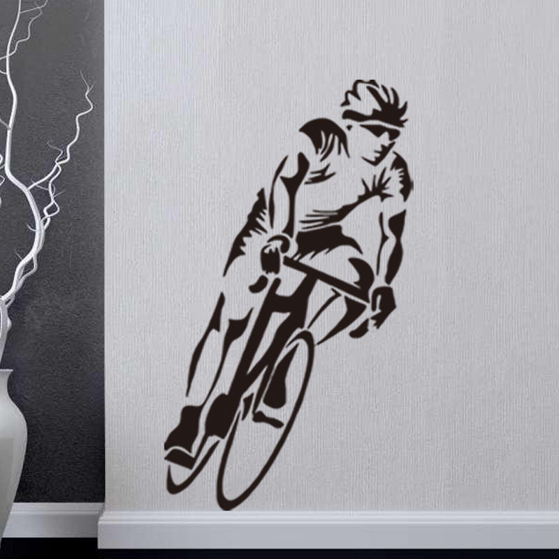 Cycling Sport Cyclist Wall Stickers Home Decor Living Room Art ...