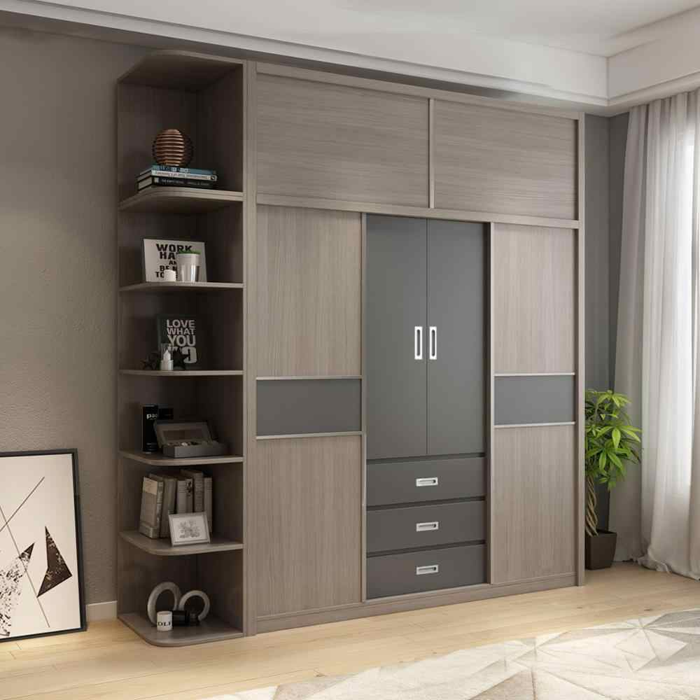 Wardrobe storage large capacity fashion wardrobe double hanging assembly cabinet reinforcement folding wooden closet  furniture