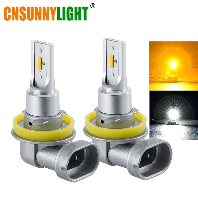 CNSUNNYLIGHT H11 9005/HB3 9006/HB4 LED Car Fog Light Headlight Bulb 2400Lm 6000K White 3000K Yellow H9 H8 H16 Auto Front Foglamp