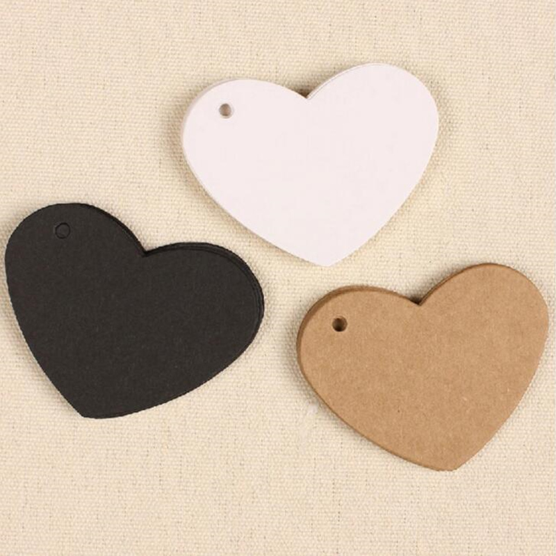 100pcs Lovely Heart Shaped Kraft Paper garment hang tags for clothing luggage tag Wedding Party Favor Label Gift Cards