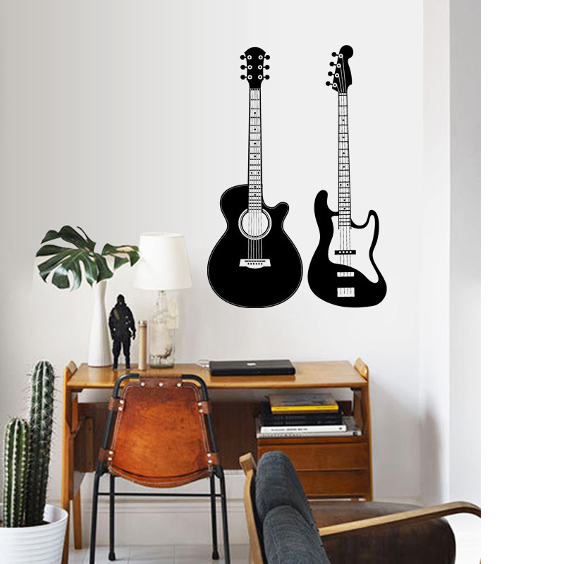 Home Decor Guitar Wall Stickers PVC Musician Music Lover Living Room