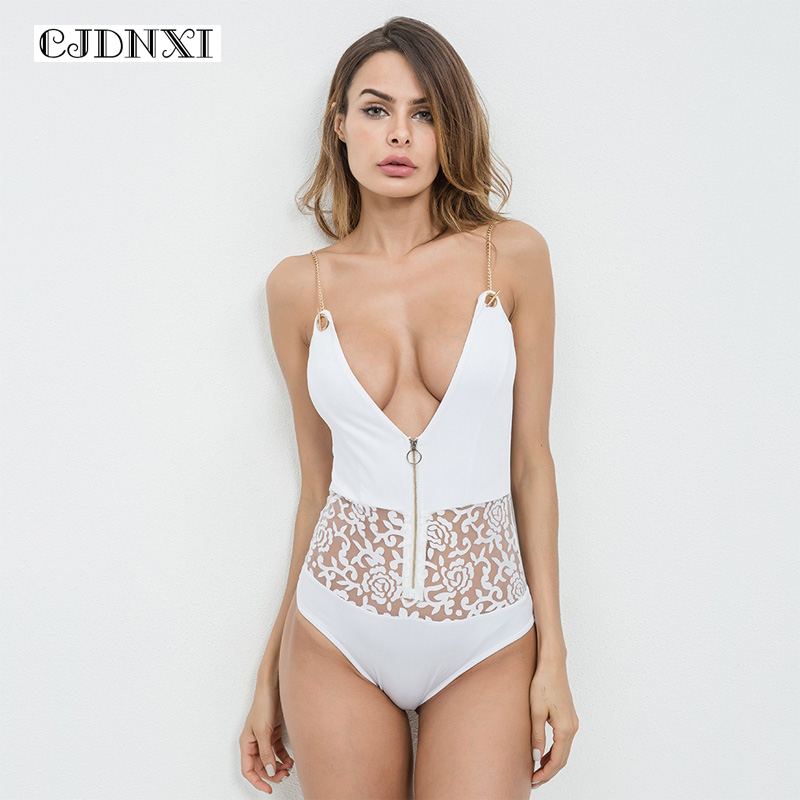 CJDNXI Women Summer Sexy Lace White Playsuits Spaghetti Strap Chain Rompers Backless Zipper Jumpsuits Skinny One Piece Bodysuits