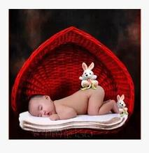 Rattan  Children's studio props  Photography  Photograph  Baby  Baby basket  Heart shaped woven basket