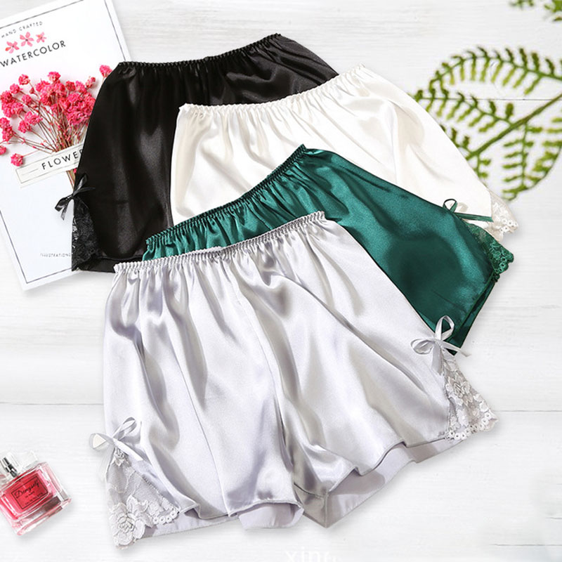 2018 Plus Size Satin Kitten Silky Elastic Waist Women Men Home Sleep Tracksuit Bottom Short Pants Pajama Nightwear Shorts 1