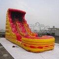 Corrediça inflável gigante com piscina para venda laranja para para crianças festa de aniversário