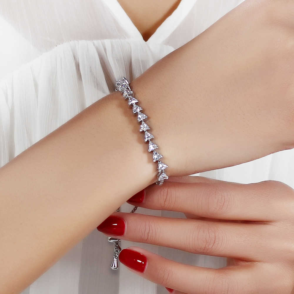 אופנה צמיד femme נחושת מתכת alibaba אקספרס מתכוונן אורך משולש cz קריסטל לבן/זהב-צבע משלוח גודל צמידים