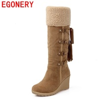 EGONERY shoes 2017 hot sale botas femininas women winter boots high heels knee high boots shoes black beige yellow snow boots