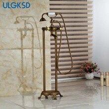 Ulgksd torneira da banheira de bronze antigo com chuveiro de mão floor stand torneiras chuveiro chão livre pé banheira misturadora torneira